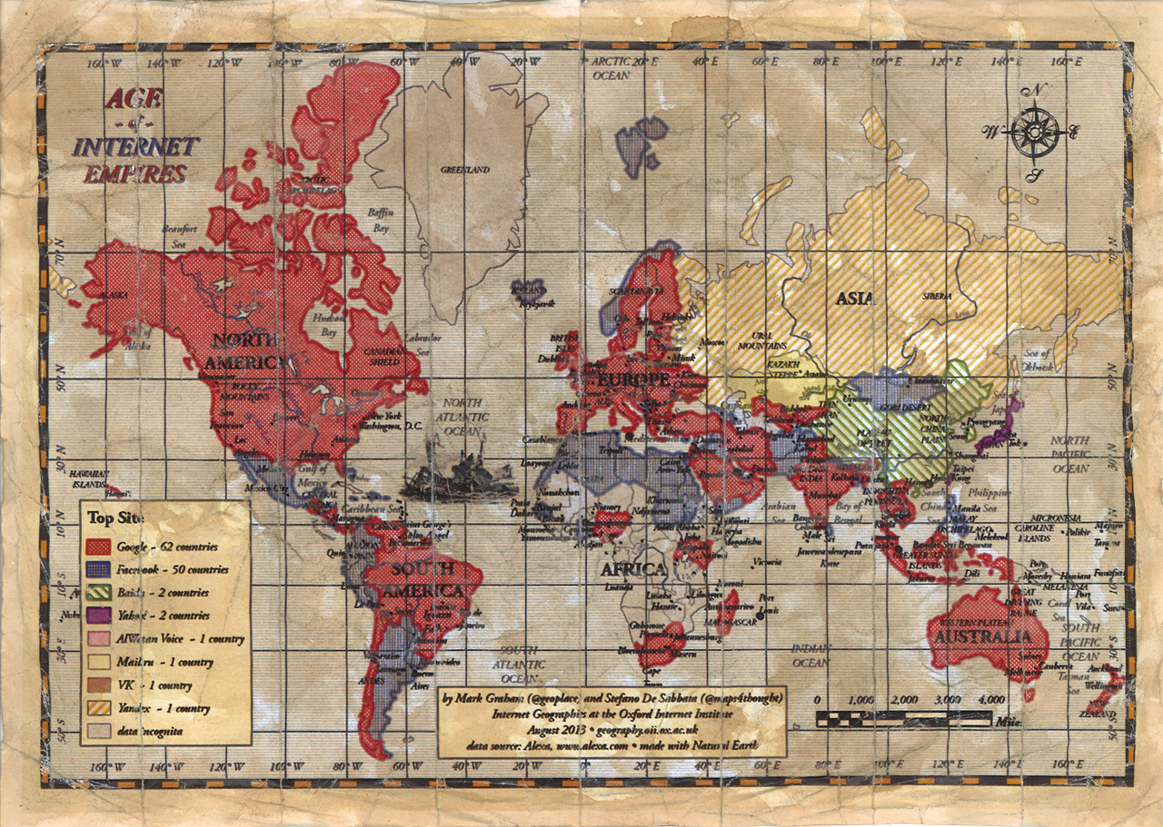 Самые Посещаемые Сайты | Карта мира из самых посещаемых сайтов | Le VPN